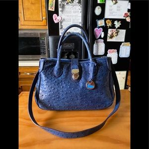 DB Blue Ostrich Emboss Leather Tote Crossbody